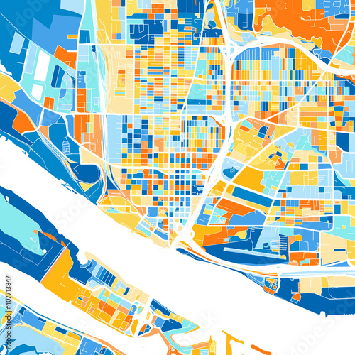 Art map of Vancouver, UnitedStates in Blue Orange