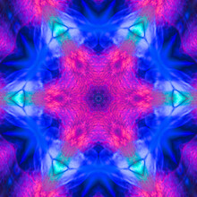 Abstract Square Background Of Pattern Of A Kaleidoscope. Neon Pink Blue Black Background Fractal Mandala. Abstract Kaleidoscopic Arabesque. Geometrical Ornament Pattern