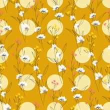 Floral Blossom Seamless Pattern. Randomly Scattered Blooming Botanical Motif. Hand Drawn Yellow Flowers On Branches Sketch Drawing On Yellow Polka Dotted Background. Color Vector Illustration