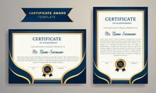 Blue And Golden Certificate Award Design Template