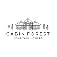 Cabin Forest Line Art Logo Vector Simple