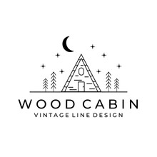 Cabin Illustration Minimalist Line Art Logo Vector Simple