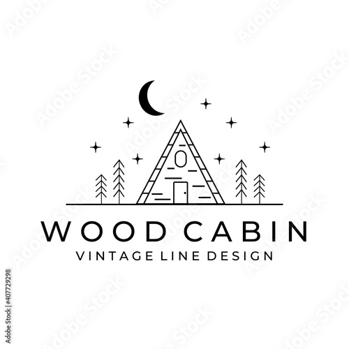 cabin illustration minimalist line art logo vector simple Fototapete