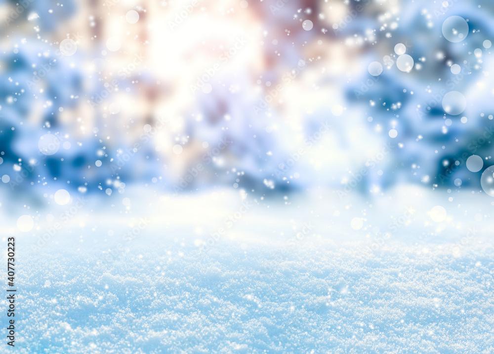 Fototapeta Beautiful fluffy snow, bokeh effect. Winter season