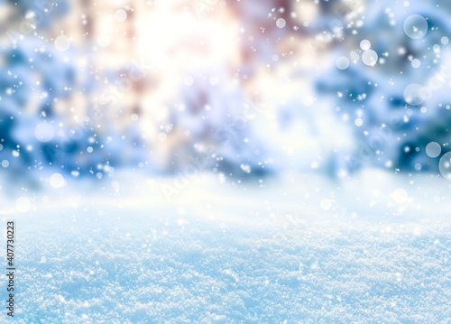 Obraz Beautiful fluffy snow, bokeh effect. Winter season - fototapety do salonu
