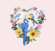 Little Birds In Colorful Flowers Heart Shape Wreath Illustration