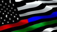 Dispatchers Memorial Responder Firefighter, Border Patrol Agents, Police First Responder. First Responder USA. Thin Blue Line Thin Red Green Line Represent U.S. American Firefighter, Police Flag. Emer