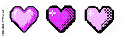 Obraz Pixel art heart icon isolated on white background. Vector 8-bit retro style illustration. - fototapety do salonu