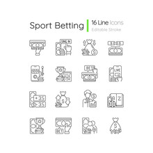 Sports Betting Linear Icons Set. Cashing Out Option. Financial Award. Mobile Casino. In-game Betting. Customizable Thin Line Contour Symbols. Isolated Vector Outline Illustrations. Editable Stroke