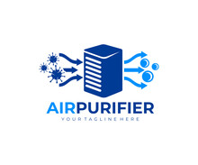 Air Purifier For Filter And Cleaning Removing Dust And Virus, Fresh Air, Logo Design. Air Conditioner, Air Filtration And Purification For Virus Protection And Particles, Vector Design And Illustratio