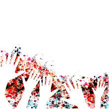 Colorful Human Hands Raised Isolated Vector Illustration. Charity And Help, Volunteerism, Social Care And Community Support Concept