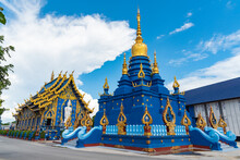 Blue Pagoda In Blue Temple Or Wat Rong Sua Ten, Chiang Rai Province, Thailand.