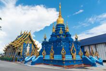 Blue Pagoda In Blue Temple Or Wat Rong Sua Ten, Chiang Rai Province, Thailand.