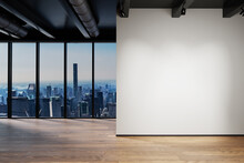 Modern Clean Office Waiting Area Reception With Skyline View, Plain Wall Copy Space, 3D Illustration