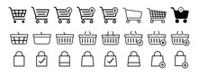 Set Of Shopping Basket Icons And Shopping Bag. Vector Illustration.