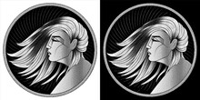 Virgo Zodiac Sign, Horoscope, Astrological Symbol. Pixel Monochrome Icon Style. Stylized Graphic Black White Portrait In Profile Of Young Beauty Woman With Long, Straight Hair Flowing In Wind. Vector.