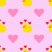 Yellow Rubber Duck Valentines Day With Pink Hearts Seamless Repeating Background Pattern