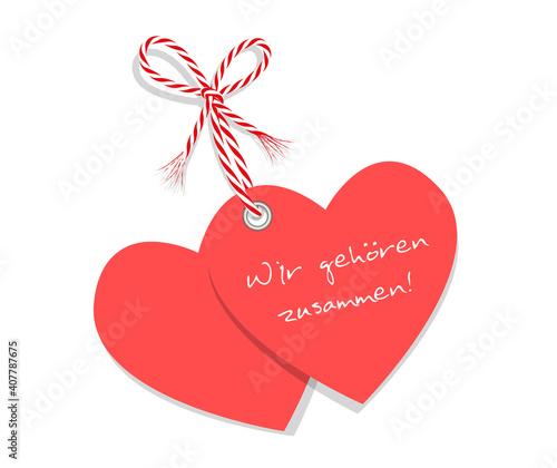 """Obraz Zwei Herzen """"Wir gehören zusammen"""" gebunden mit rot-weiße Kordel Schleife, Karte für Muttertag, Valentinstag, Hochzeit uvm Vektor Illustration isoliert auf weißem Hintergrund  - fototapety do salonu"""