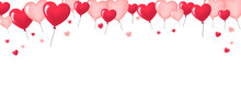 Red And Pink Balloons Hearts On White Background - San Valentine