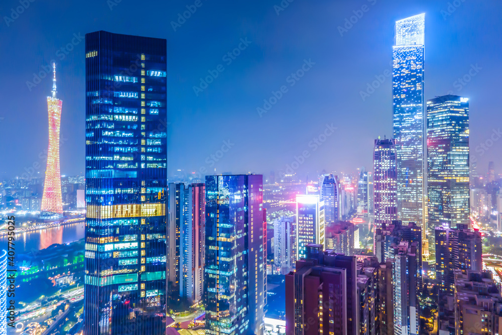 Fototapeta Aerial photography of Guangzhou city architecture landscape night view