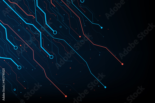 Obraz Abstract background electronic print circuit dot and line 002 - fototapety do salonu