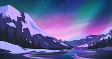 Northern Lights Against The Mountains Landscape.