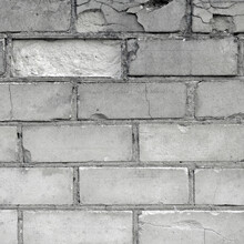 White Light Grey Old Aged Weathered Fine Brick Wall Texture, Grungy Damaged Calcium Silicate Bricks Pattern Detail Background Macro Closeup, Large Detailed Textured Vertical Grunge Ruined Brickwork