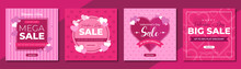 Valentines Day Mega Sale Social Media Post Template Design. Brand Business Promotion Banner, Poster & Flyer For Digital Marketing. Creative Web Banner With Logo, Heart Icon & Valentine Background.