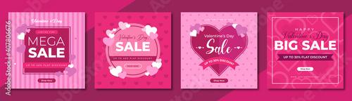 Valentines day mega sale social media post template design. Brand business promotion banner, poster & flyer for digital marketing. Creative web banner with logo, heart icon & valentine background.