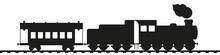 Retro Train. Antique Steam Locomotive With Tender And Vintage Car. Black Silhouette Isolated On White. Railway Transport Vector Art.