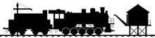 Old Steam Locomotive With A Tender At A Technical Stop. Water Tower And Water Crane For Filling Steam Locomotive. Black Silhouette Isolated On White. Railway Transport Vector Art.