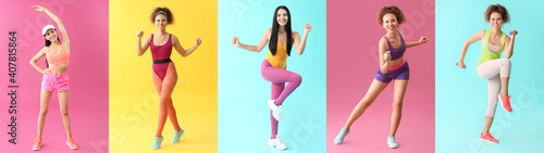 Fototapeta Young women doing aerobics on color background obraz