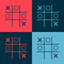 Pop Art Tic Tac Toe Game Icon Isolated On Color Background. Vector.