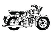 Vector Illustration Of Bullet Indian Motorbike Silhouette