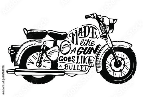 Carta da parati Vector Illustration of Bullet Indian Motorbike Silhouette