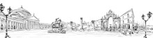 Pompeii. Piazza Del Plebiscito. Fountain Of Giant. Naples. Italy. City Panorama. Collage Of Landmarks. Hand Drawn Sketch. Vector Illustration.