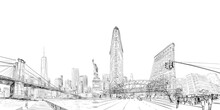 Times Square. New York. USA.City Panorama. Collage Of Landmarks. Vector Illustration. Urban Sketch