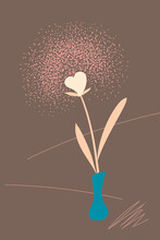 Valentine Day Card With Heart Flower, Vertical Vector Illustration. Retro Print With Pink Heart Blossom For St Valentines Day Greeting. Gender Neutral Or Single Valentine Day Postcard