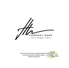 H H HH Initial Letter Handwriting And Signature Logo. Beauty Vector Initial Logo .Fashion, Boutique, Floral And Botanical