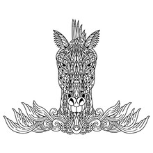 Hand Drawn Of Horse Head In Zentangle Style