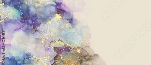 Abstract blue, violet and gold glitter color horizontal background. Marble texture. Alcohol ink.