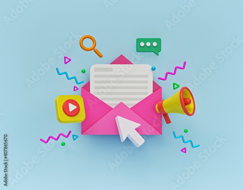 Tela Concept of direct digital marketing, email advertising, newsletter promotion campaign