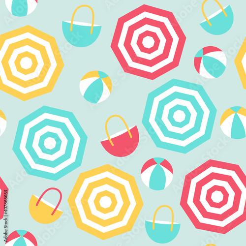 Fotografering Seamless pattern of beach umbrellas, beach balls, and beach bags