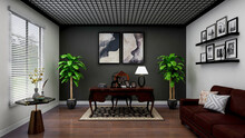 Classic Home Office, Photorealistic 3D Illustration, Suitable For Video Conference And Zoom Background.