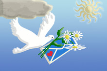 3D Rendering. The Dove Carries An Envelope And Three Daisies In Its Beak. Above Him Is The Sun And A Cloud.