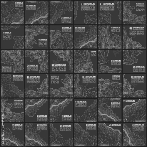 Fototapeta Grey contours vector topography. Geographic mountain topography vector illustration. Topographic pattern texture. Map on land vector terrain. Elevation graphic contour height lines. Vector Set. obraz