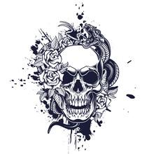 Skull Poster Design. Vector Illustration Of Human Skull With Roses, Snake And Ink Splash In Engraving Technique On Black Background.