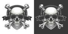 Traditional Jolly Roger Design. Vector Illustration Of Human Skull With Crossbones On Shield Banner With Ribbon In Engraving Technique Isolated On White Background.