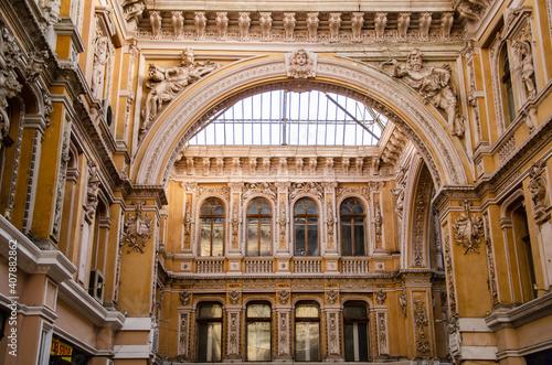 Slika na platnu Architecture background passage of ancient building with decor elements