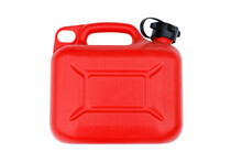 Red Plastic Canister For Gasoline Or Other Fuel. Isolated On White.